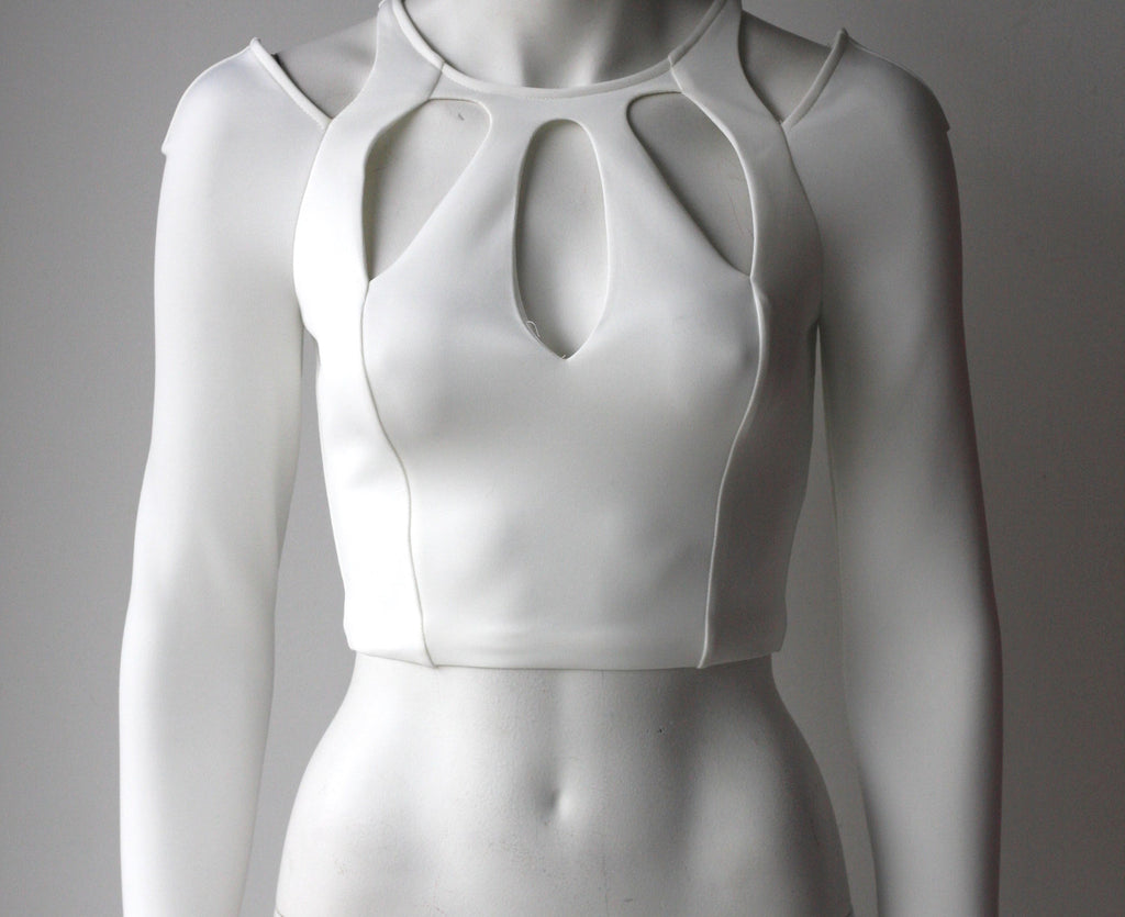 Brand New Bebe White Long Sleeve Cut-Out Crop Top - Joyce's Closet  - 1