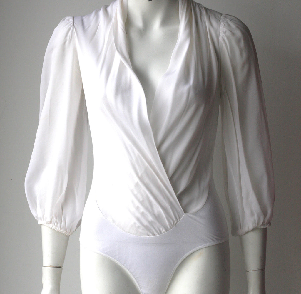 Guess By Marciano Daria White Silk Long Sleeve Bodysuit - Joyce's Closet  - 1