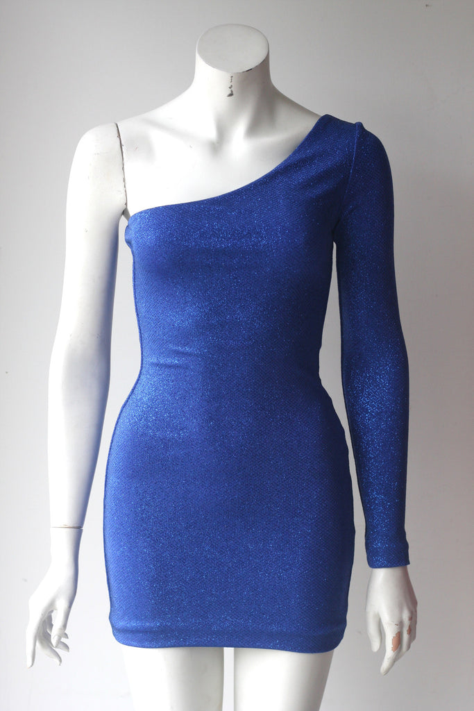 Brand New Guess By Marciano Blue Aria Glitter One Sleeve Dress - Joyce's Closet  - 1