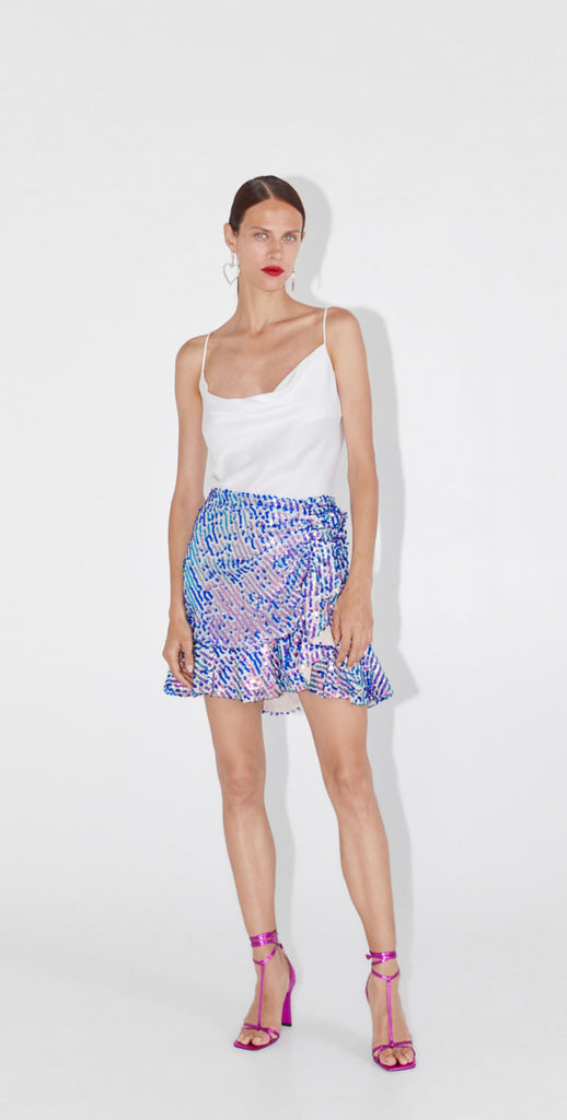 Brand New Zara Blue Sequin Ruffle Skirt Size M