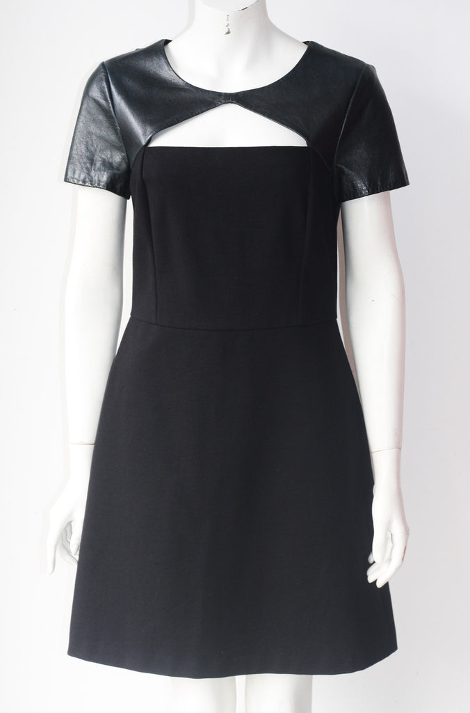 DKNY Black Leather Trim Dress - Joyce's Closet  - 1