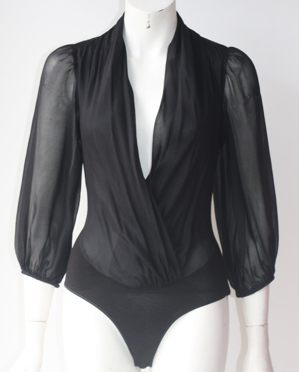 Guess By Marciano Daria Black Silk Long Sleeve Bodysuit - Joyce's Closet  - 1