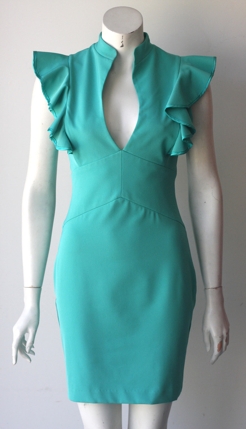 Black Halo Green Key Hole Ruffle Sheath Dress - Joyce's Closet  - 1