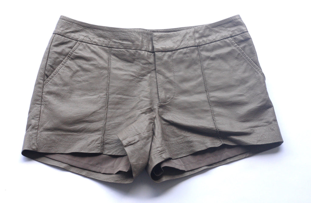 Bebe Taupe Leather Shorts - Joyce's Closet  - 1