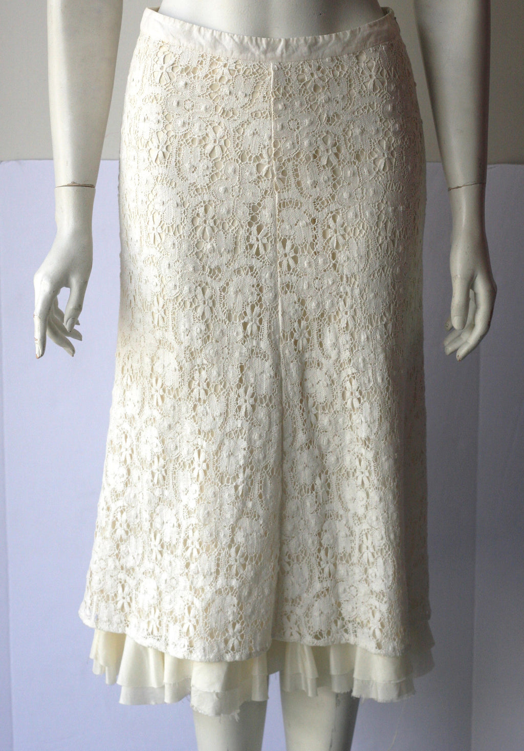 Banana Republic Cream Crochet Midi Skirt - Joyce's Closet  - 1