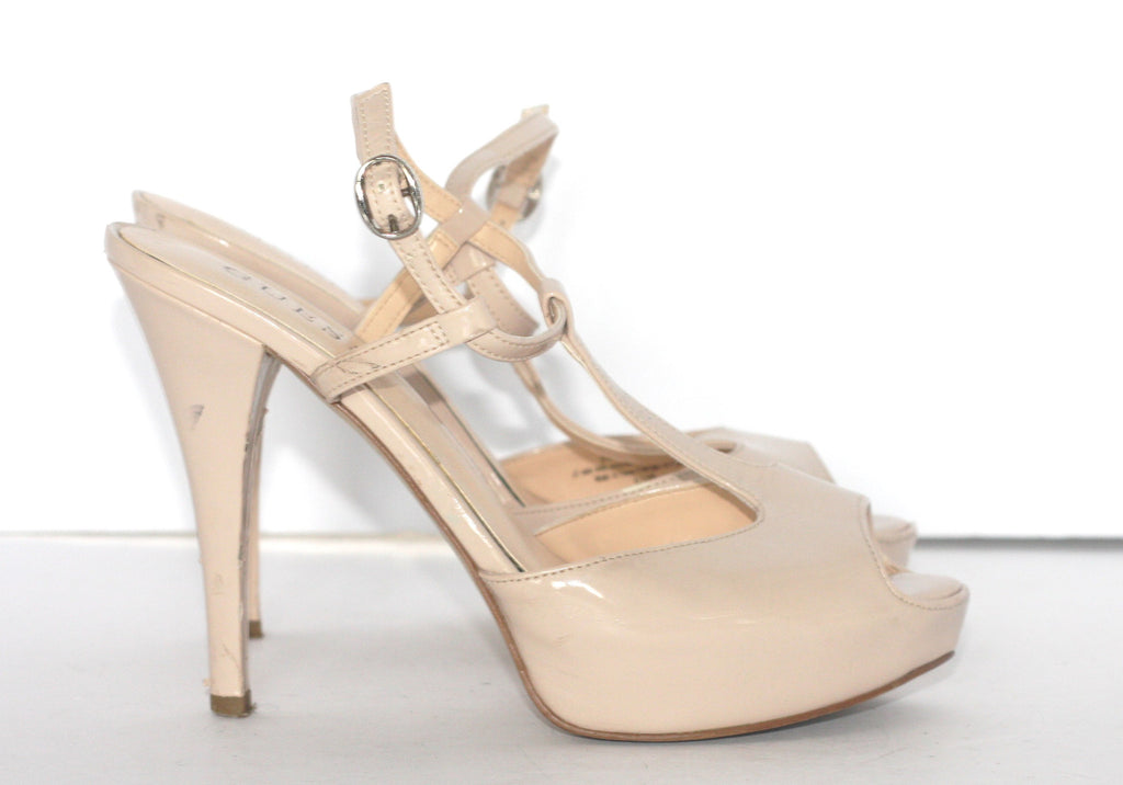 Guess Nude T Strap Patent Leather Sandals - Joyce's Closet  - 1