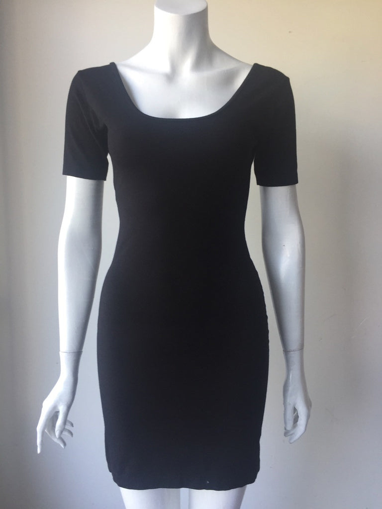 American Apparel Black Short Sleeve Scoop Back Mini Dress Size L