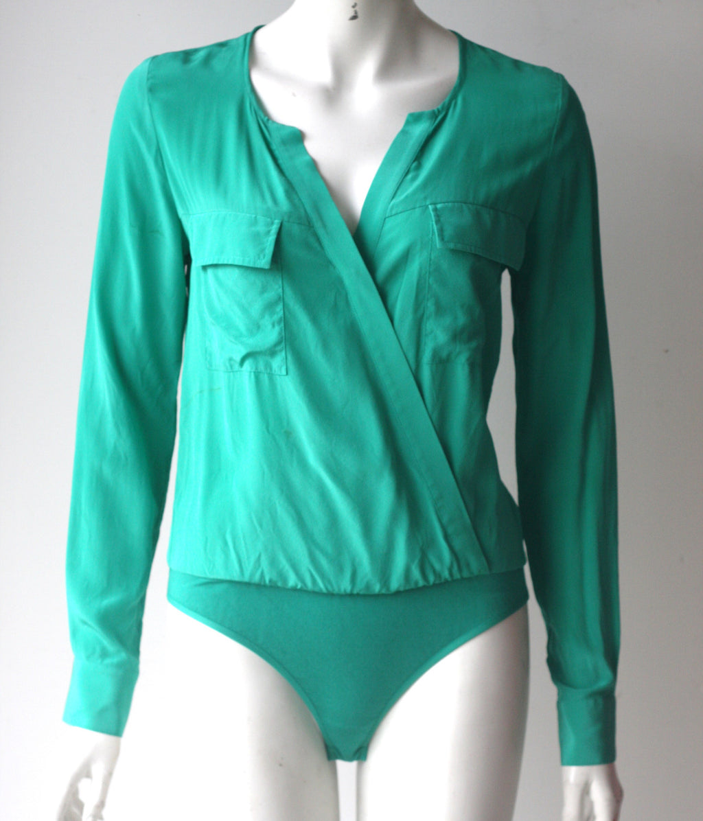 Guess By Marciano Green Silk Long Sleeve Body Suit - Joyce's Closet  - 1