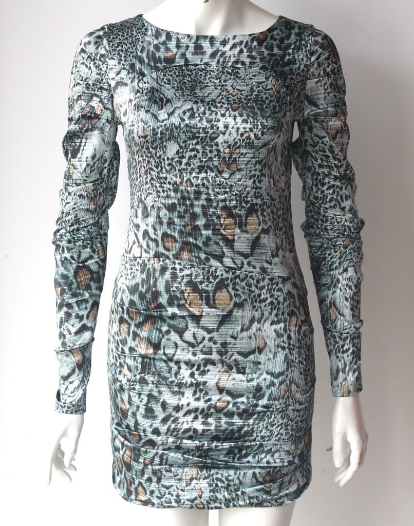 Brand New Guess By Marciano Long Sleeve Green Animal Print Silk Zita Dress - Joyce's Closet  - 1