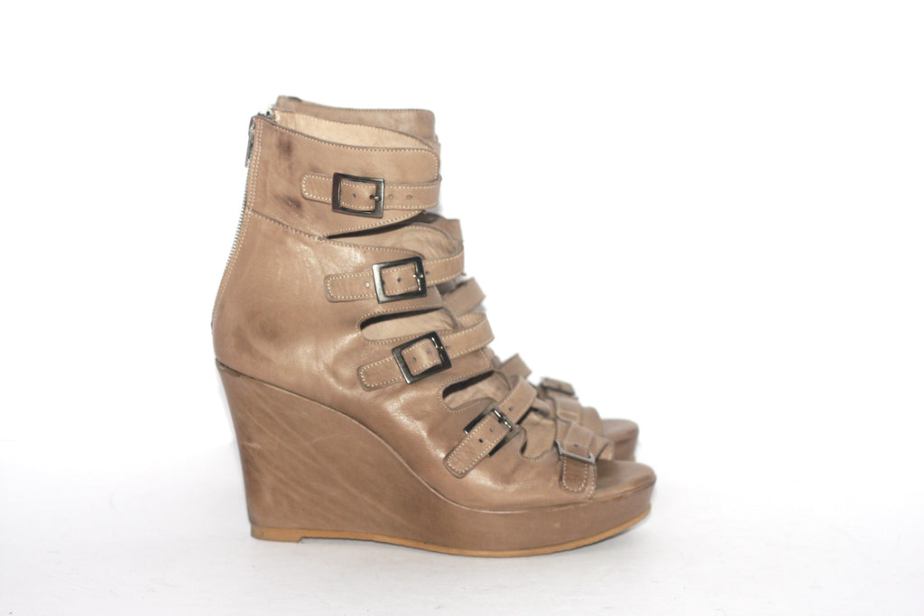 Hibou Taupe Wedge Buckle Strap Sandals - Joyce's Closet  - 1