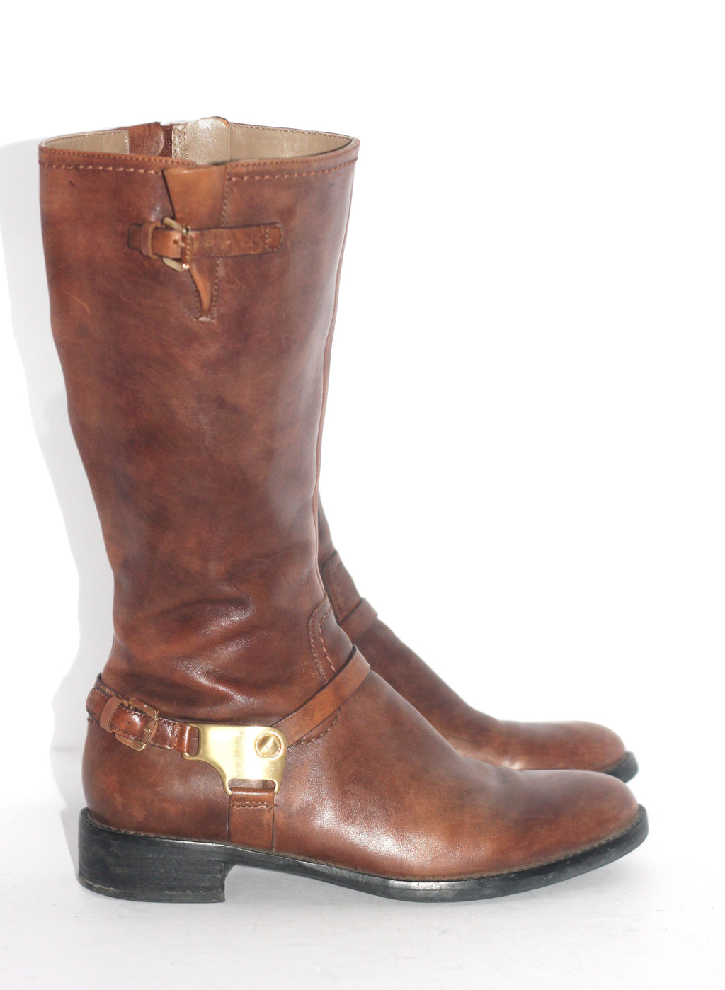ECCO Brown Almond Toe Mid Shaft Boots - Joyce's Closet  - 1