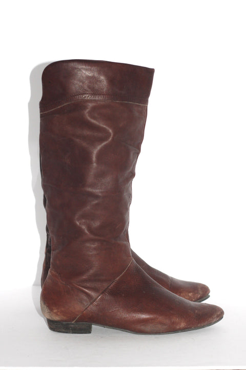 Aldo Tall Brown Almond Toe Boots - Joyce's Closet  - 1