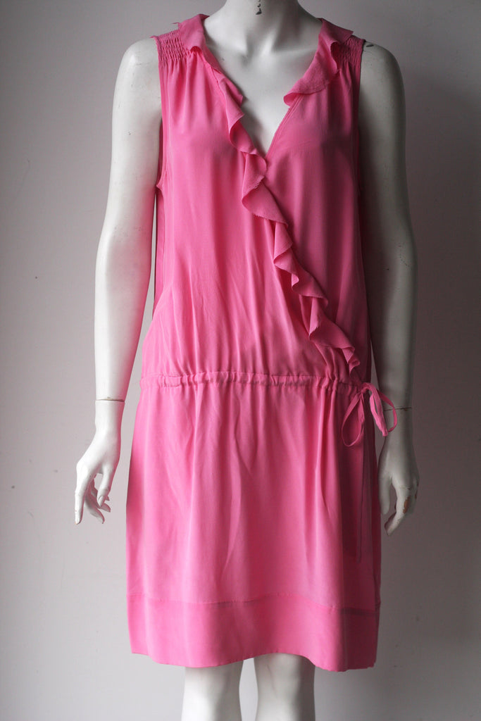 Banana Republic Pink Silk Ruffle Dress - Joyce's Closet  - 1