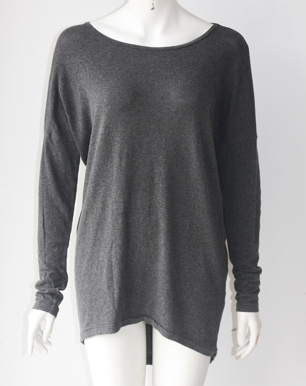 Oak & Fort Grey Long Sleeve Round Neck Sweater Shirt - Joyce's Closet  - 1