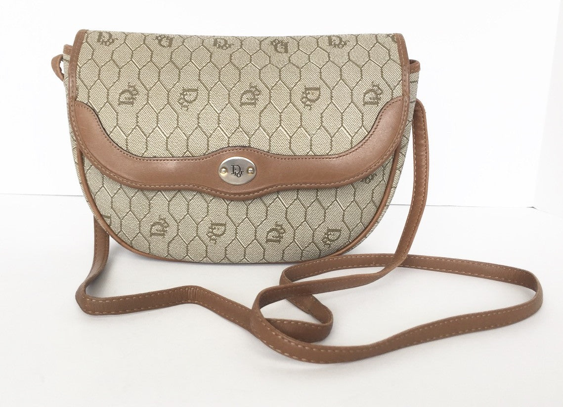 Vintage Christian Dior Taupe   Brown Cross Body Coated Leather Bag ... 93ea610677