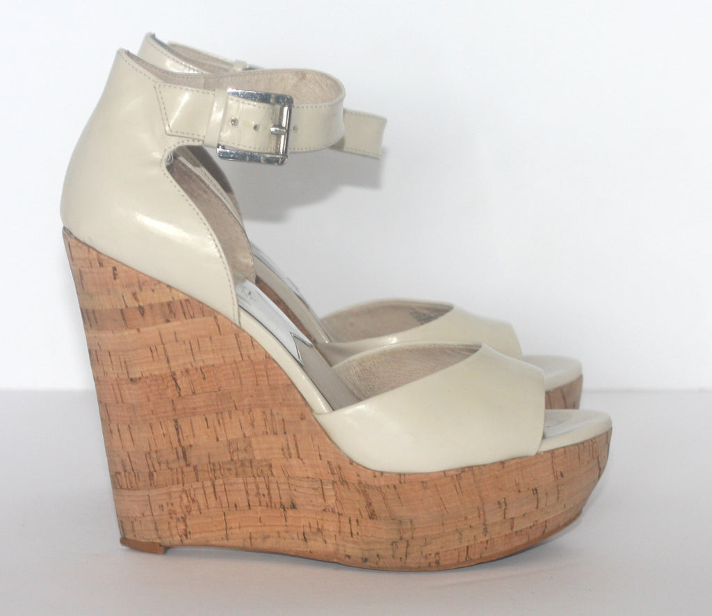 Michael by  Michael Kors Arianna Nude Patent Leather Wedge Sandals - Joyce's Closet  - 1