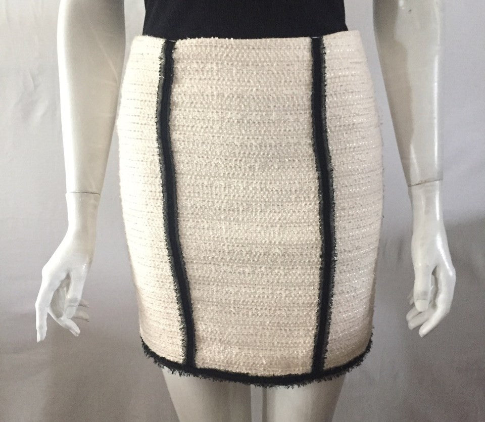 Bebe Cream Tweed Mini Skirt Size 4