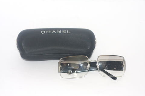 Chanel Crystal CC Logo Black Mirror Sunglasses Style #4095B - Joyce's Closet  - 1