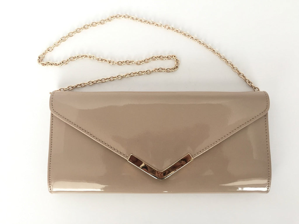 Aldo Nude Patent Leather Envelope Clutch