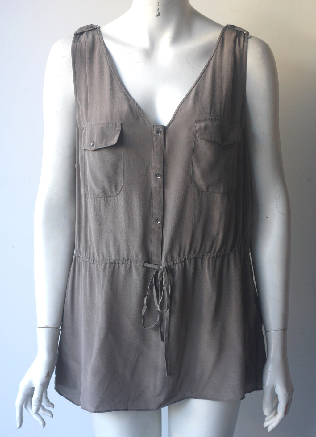 Banana Republic Taupe Silk Button Up Sleeveless Blouse - Joyce's Closet  - 1