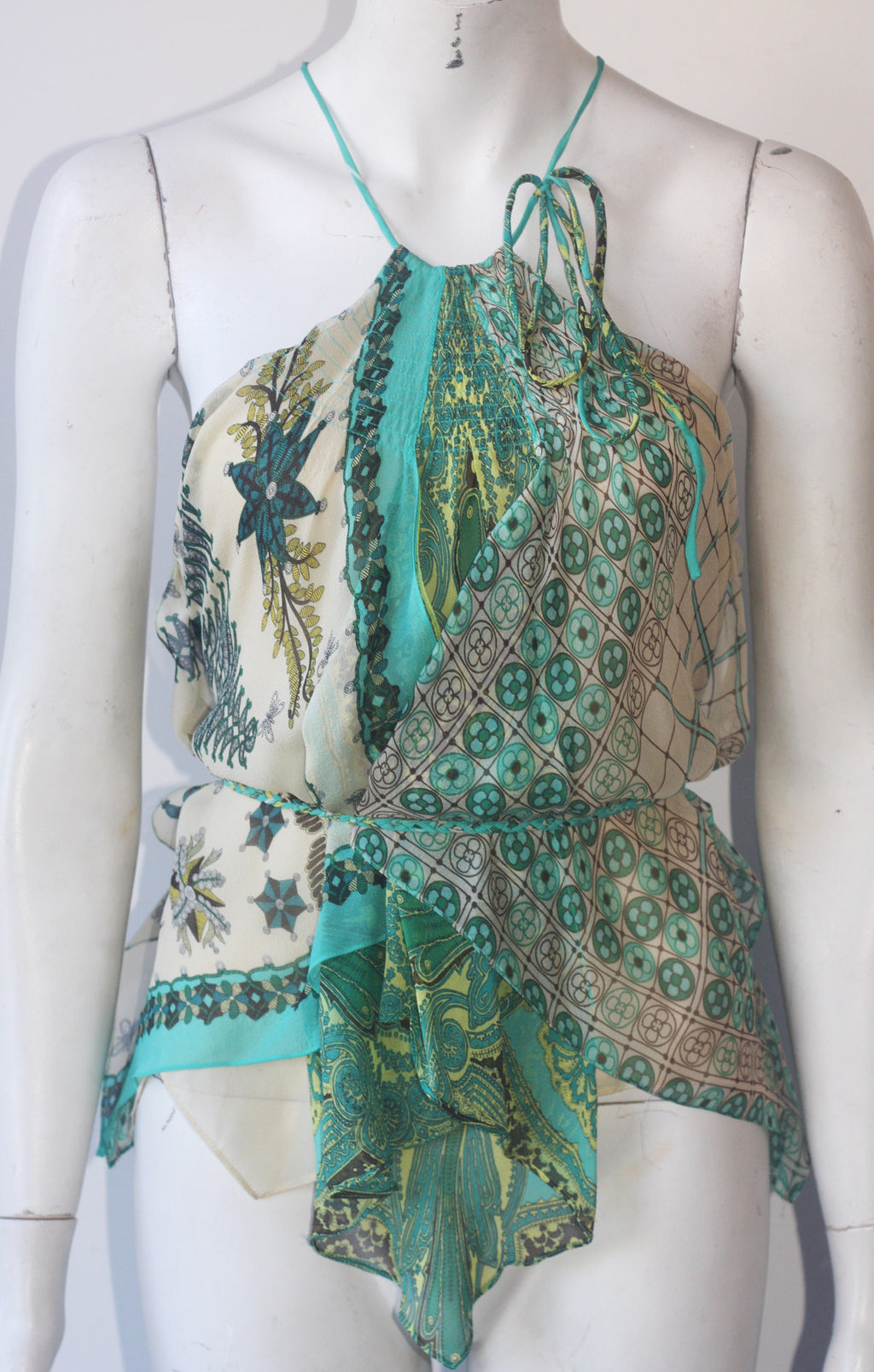 BCBG Max Azria Green & Blue Silk Sheer Layered Blouse - Joyce's Closet  - 1