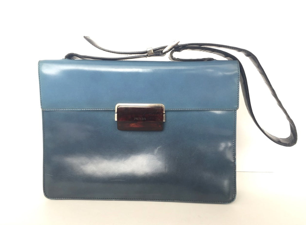 Prada Blue Avio Leather Militaire Shoulder Bag B7300