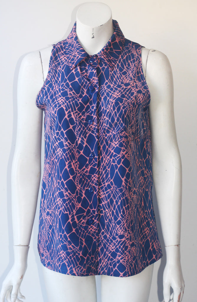 De Lacy Navy Blue & Pink Silk Sleeveless Blouse Size M