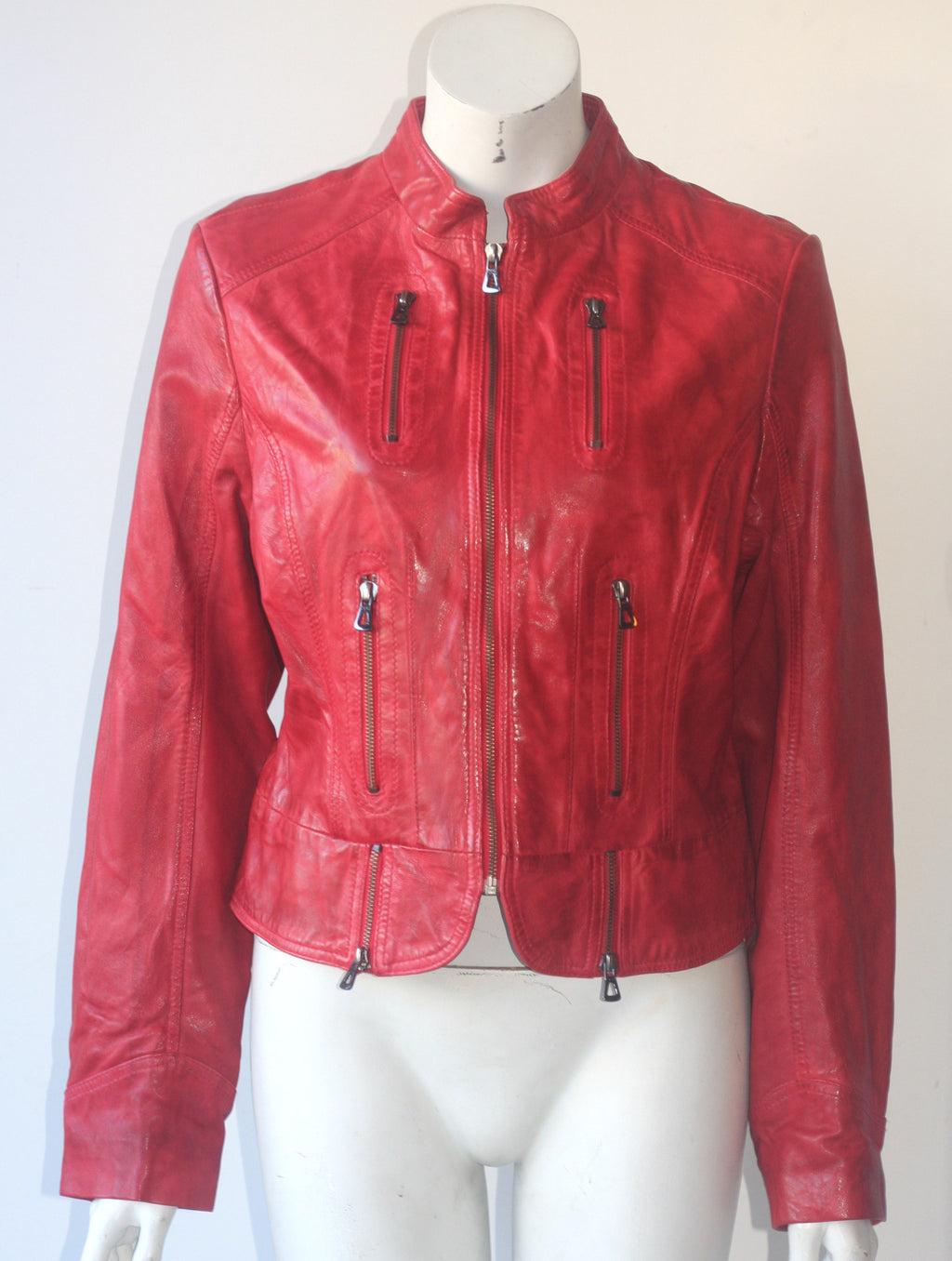 Bod Christensen Red Leather Motorcycle Jacket - Joyce's Closet  - 1