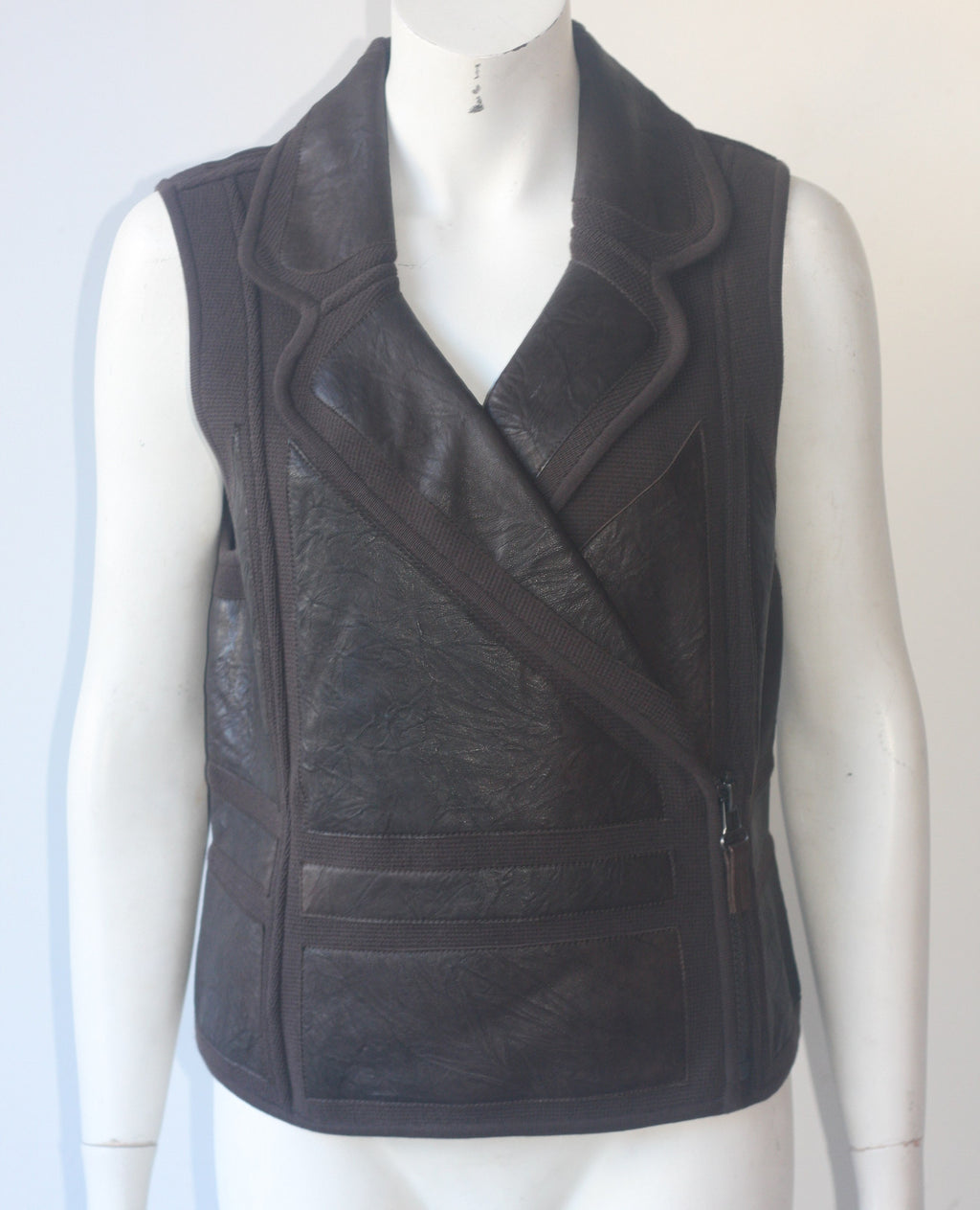 Nic & Zoe Brown Leather Vest Jacket - Joyce's Closet  - 1