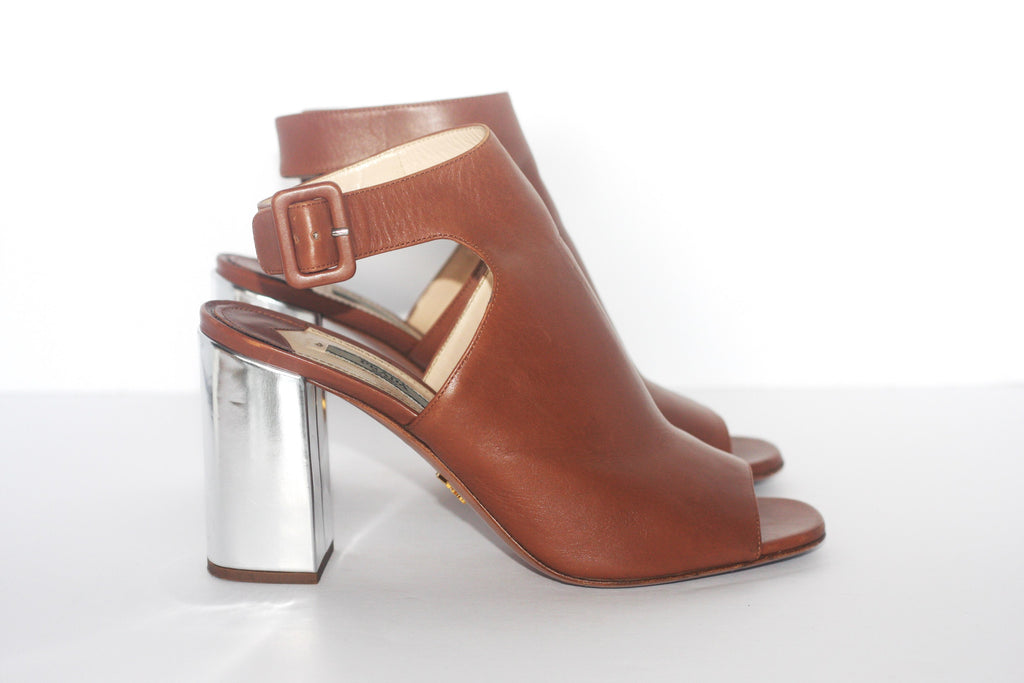 Prada Brown Open Toe Sling Back Mule Sandals - Joyce's Closet  - 1