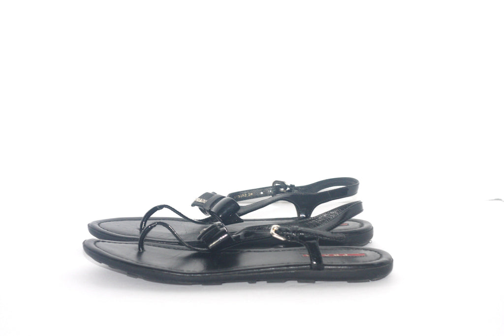 f4e223d51ad08 ... Prada Black Patent Leather Black Thong Sandals - Joyce s Closet - 3 ...