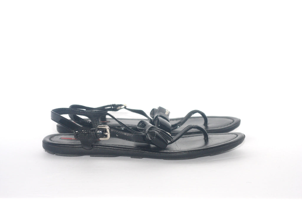 4d453fff1ddea ... Prada Black Patent Leather Black Thong Sandals - Joyce s Closet - 4 ...