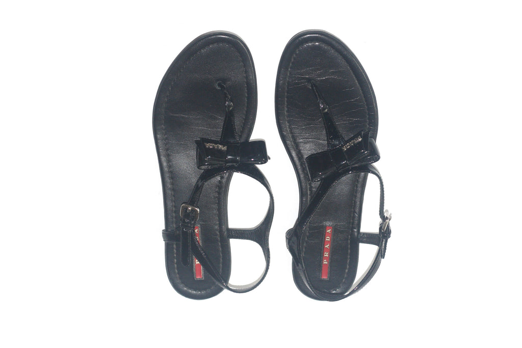 5f74b77a5fae3 ... 1 Prada Black Patent Leather Black Thong Sandals - Joyce s Closet - 2  ...