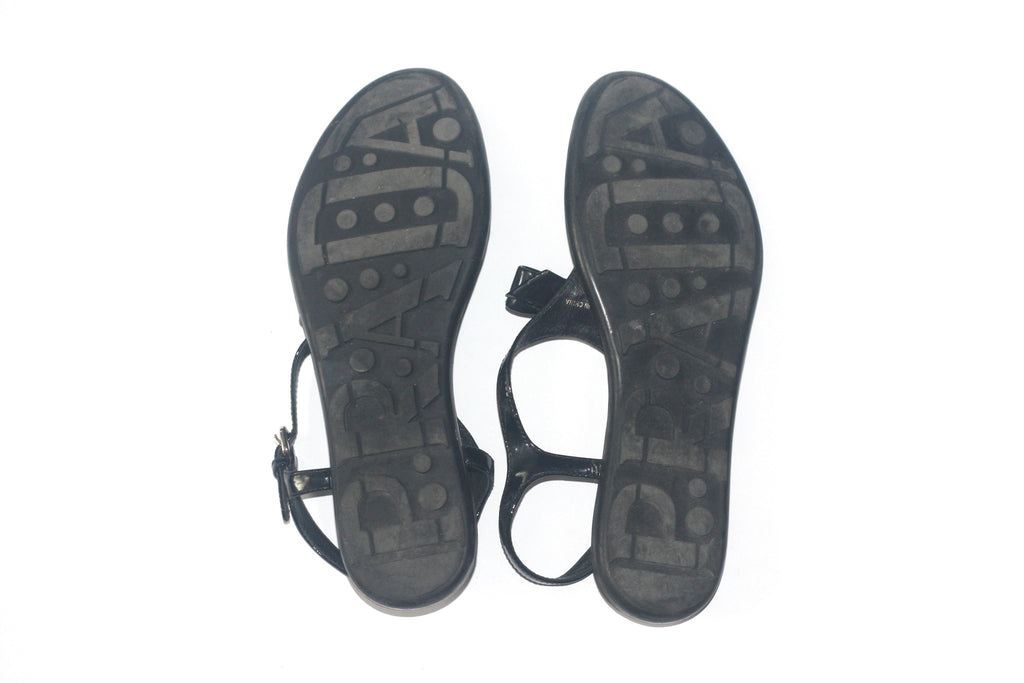 62238f1657fb7 ... Prada Black Patent Leather Black Thong Sandals - Joyce s Closet - 5 ...