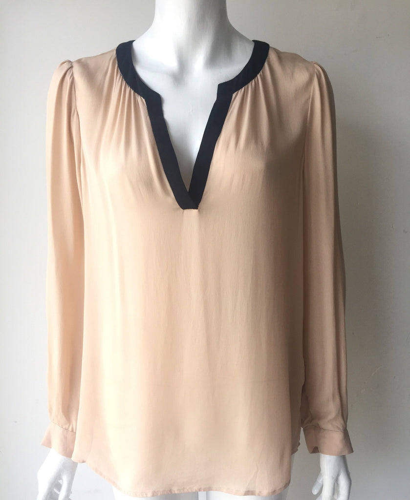 Joie Long Sleeve Nude V Neck Silk Blouse Size M