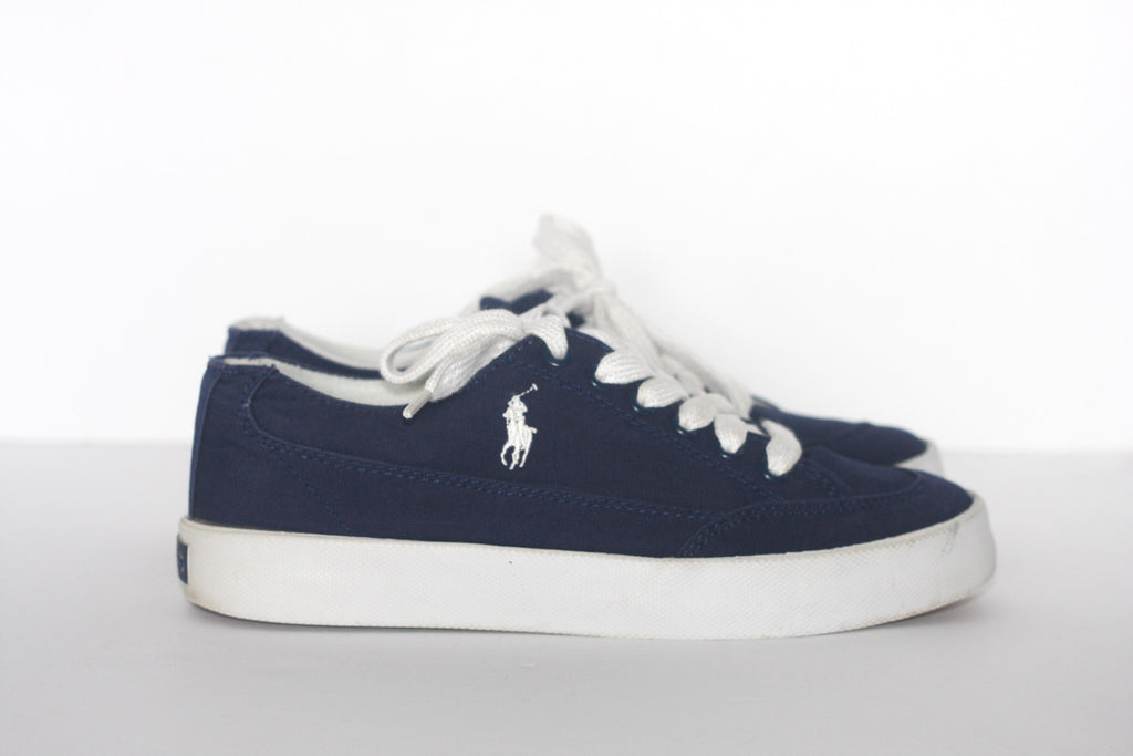 Polo Ralph Lauren Navy Canvas Tennis Shoes - Joyce's Closet  - 1