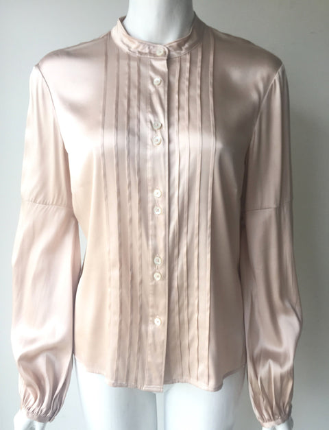 Burberry Light Pink Silk Long Sleeve Blouse Size M