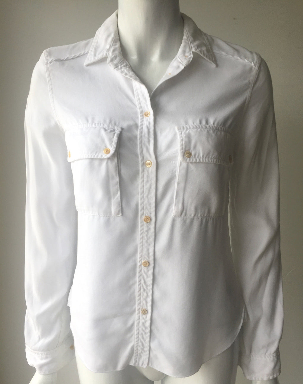 Wilfred Augustina Drapey White Denim Button Up Shirt Size XS