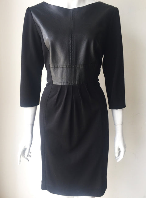 Sandra Darren Black Faux Leather Dress Size 12