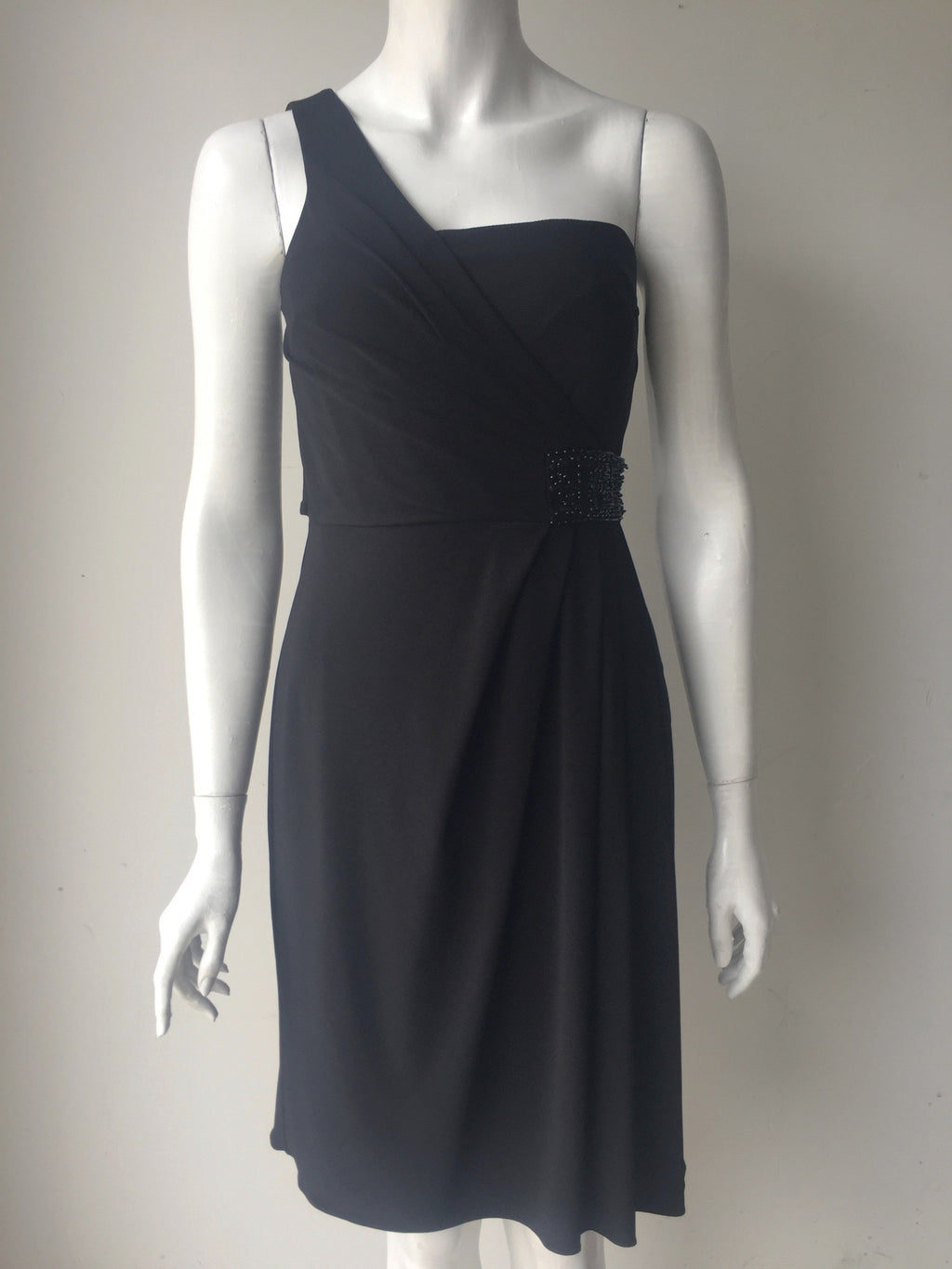 J S Boutique One Strap Beaded Black Dress Size 4