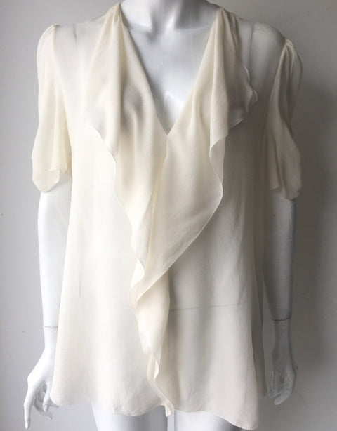T. Babaton Cream Silk Blouse Size L