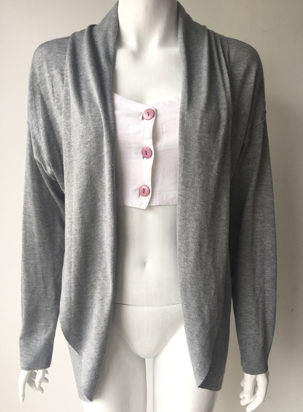 Worthington Grey Open Front Draped Cardigan Sweater Size L