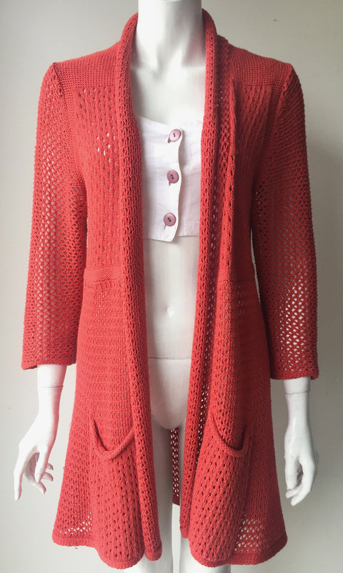Anthropologie Angel of the North Coral Open Long Cardigan Sweater Size L
