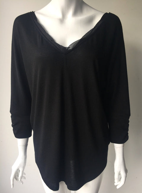 Deletta Black V-Neck Blouse Size XL