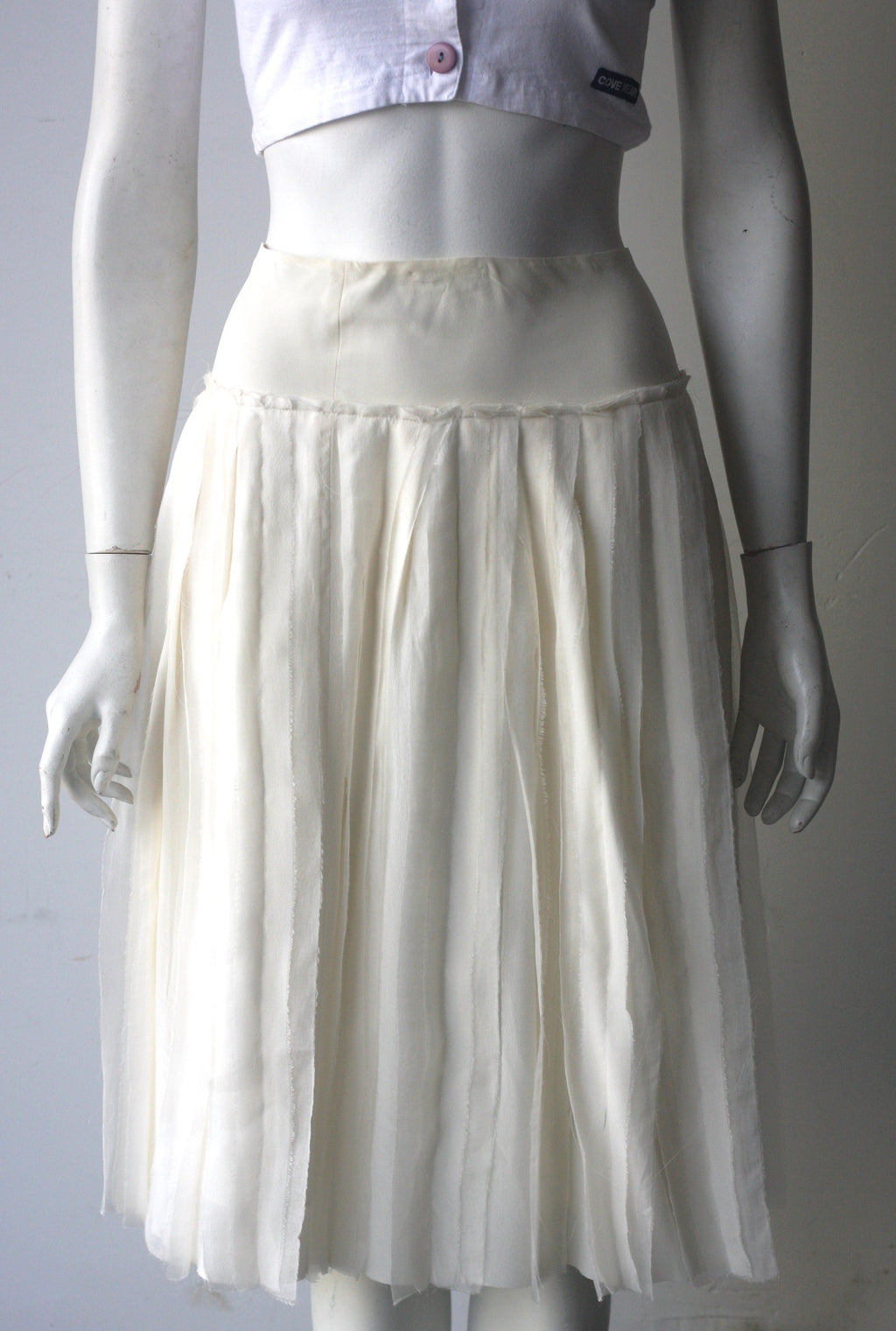 DKNY Cream Pleated Silk A-Line Skirt - Joyce's Closet  - 1