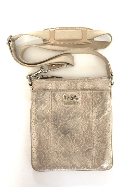 Coach Pewter Monogram Cross Body Bag