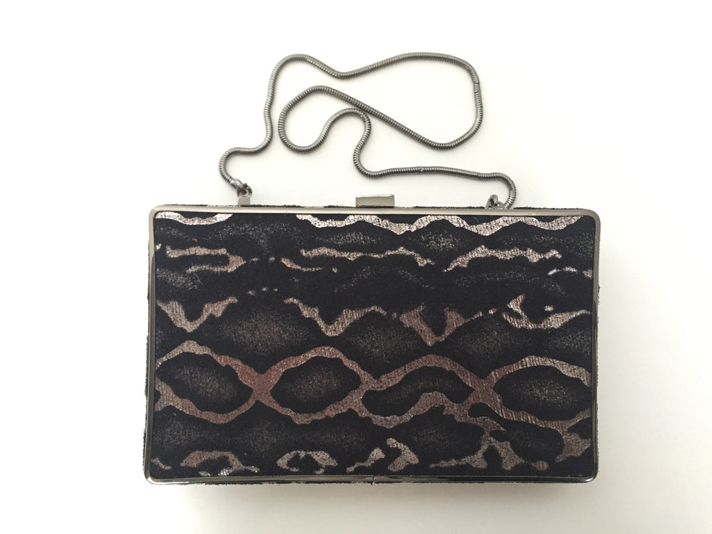 BCBG Maz Azria Black & Silver Box Clutch