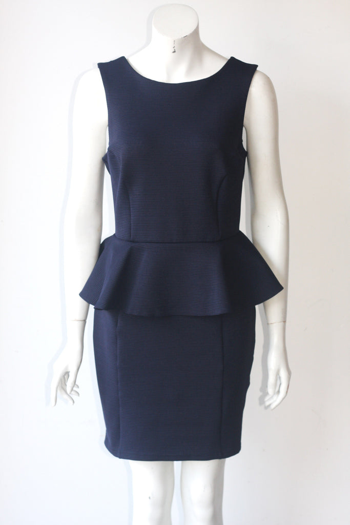 Topshop Navy Peplum Sleeveless Dress - Joyce's Closet  - 1