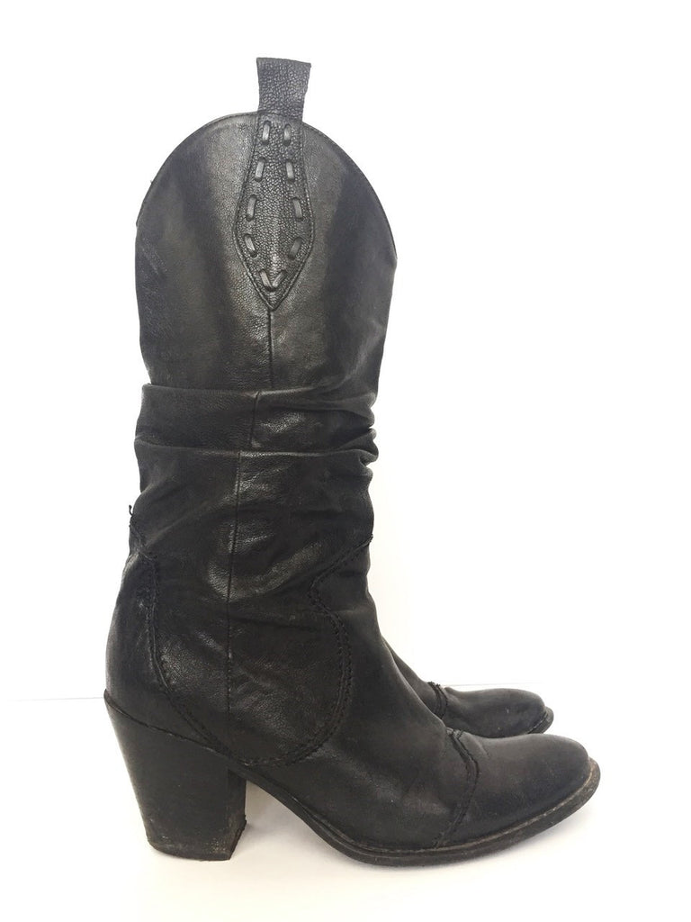 Vintage Black Leather Cowboy Boots Size 7.5