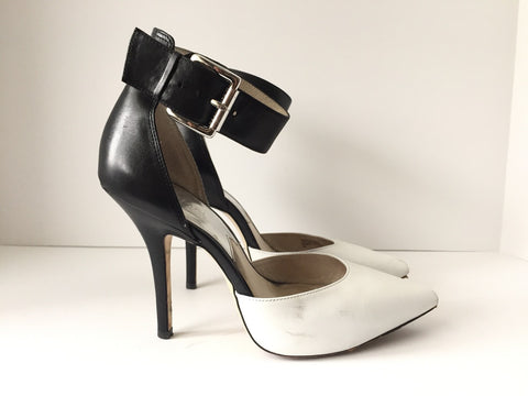 Michael Kors Black & White Ankle Strap Stiletto Heel Size 7